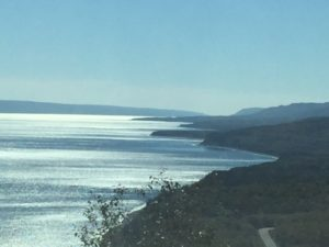 Looking up the Cape Breton coast from the top of Cape Smokey.